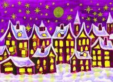 Όνειρο-πόλη το χειμώνα, ζωγραφική Στοκ φωτογραφία με δικαίωμα ελεύθερης χρήσης