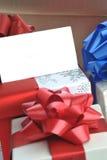 όνομα δώρων καρτών κιβωτίων Στοκ Εικόνες