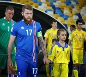 Όντας κατάλληλο παιχνίδι Ουκρανία β Παγκόσμιου Κυπέλλου 2018 της FIFA Ισλανδία Στοκ Εικόνες