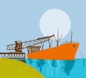 όντας φορτωμένο γερανός σκάφος βραχιόνων Στοκ Εικόνα