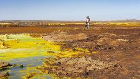 Όξινες λίμνες στην περιοχή Dallol στην κατάθλιψη Danakil στην Αιθιοπία, Αφρική στοκ εικόνα με δικαίωμα ελεύθερης χρήσης