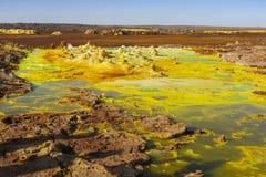 Όξινες λίμνες στην περιοχή Dallol στην κατάθλιψη Danakil στην Αιθιοπία, Αφρική στοκ εικόνες