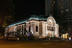 Όπερα Saigon τη νύχτα Στοκ Εικόνες