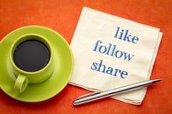 Όπως, ακολουθήστε, μοιραστείτε - κοινωνική έννοια μέσων στοκ φωτογραφία