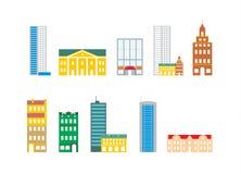 όπως είναι τα κτήρια μπορούν χάρτης εικονιδίων δημιουργιών πόλεων να θέσουν αυτόνομο χρησιμοποιούμενο Στοκ εικόνες με δικαίωμα ελεύθερης χρήσης