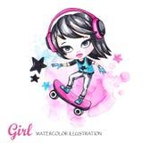 όπως η ανασκόπηση είναι μπορεί καλοκαίρι απεικόνισης χρησιμοποιούμενο Κορίτσι καρτών Watercolor skateboarder με τα ακουστικά έφηβ Στοκ Φωτογραφία