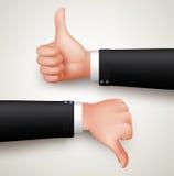 Όπως και αντίθετα από τη χειρονομία ή τους αντίχειρες χεριών επάνω και τους αντίχειρες κάτω από τα χέρια Στοκ εικόνα με δικαίωμα ελεύθερης χρήσης