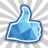 Όπως το σύμβολο, αντίχειρες επάνω στο πολύγωνο Στοκ εικόνα με δικαίωμα ελεύθερης χρήσης