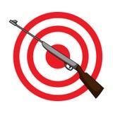 Όπλο και στόχος Στοά πυροβολισμού σε ένα λούνα παρκ Ενιαίο εικονίδιο λούνα παρκ στο διανυσματικό απόθεμα συμβόλων ύφους κινούμενω απεικόνιση αποθεμάτων