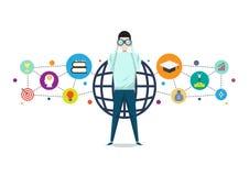 Όραμα της έννοιας επιχειρήσεων ή εκπαίδευσης, διάνυσμα επιτυχίας στόχου διανυσματική απεικόνιση