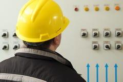 Όργανα ανάγνωσης μηχανικών στο κέντρο ελέγχου εγκαταστάσεων παραγωγής ενέργειας Στοκ φωτογραφία με δικαίωμα ελεύθερης χρήσης