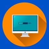Όργανο ελέγχου υπολογιστών με το επίπεδο εικονίδιο διαδικασίας φόρτωσης απεικόνιση αποθεμάτων