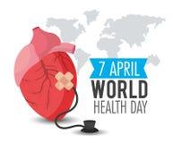 Όργανο καρδιών με το στηθοσκόπιο στην ημέρα παγκόσμιας υγείας διανυσματική απεικόνιση