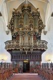 Όργανο σωλήνων της εκκλησίας της ιερής τριάδας σε Kristianstad, Σουηδία στοκ φωτογραφία