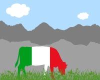 Όρος αγελάδων και ιταλική σημαία Στοκ εικόνα με δικαίωμα ελεύθερης χρήσης
