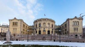 Όσλο, Νορβηγία - 16 Μαρτίου 2018: Εξωτερικό του Κοινοβουλίου της Νορβηγίας στο Όσλο, Νορβηγία πανόραμα Στοκ Εικόνες