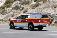 Όχημα διάσωσης θάλασσας που σταθμεύουν στην προκυμαία σε Yzerfontein Νότια Αφρική στοκ εικόνες με δικαίωμα ελεύθερης χρήσης