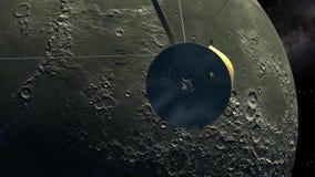 Όχημα σε τροχιά Cassini που περνά το φεγγάρι απόθεμα βίντεο