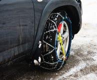 όχημα χιονιού αλυσίδων Στοκ Φωτογραφίες
