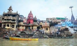 Όχθη ποταμού του Γάγκη στο Varanasi, Ινδία Στοκ εικόνες με δικαίωμα ελεύθερης χρήσης