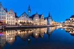 Όχθη ποταμού Leie στη Γάνδη, Βέλγιο, Ευρώπη στοκ εικόνες