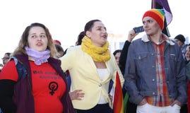 Όχλος λάμψης ενάντια στην ανισότητα γένους Στοκ Φωτογραφία