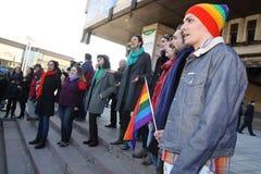 Όχλος λάμψης ενάντια στην ανισότητα γένους Στοκ Εικόνα