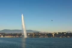 όψη λιμνών της Γενεύης πηγών Στοκ Εικόνα