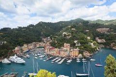 Όψη κόλπων Portofino από ανωτέρω Στοκ εικόνα με δικαίωμα ελεύθερης χρήσης