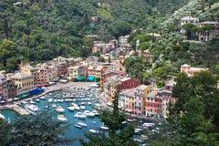 Όψη κόλπων Portofino από ανωτέρω Στοκ Εικόνες
