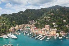 Όψη κόλπων Portofino από ανωτέρω Στοκ φωτογραφίες με δικαίωμα ελεύθερης χρήσης
