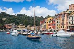 Όψη κόλπων Portofino Στοκ Εικόνα
