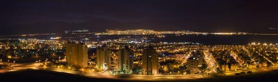 όψη νύχτας πόλεων aqaba eilat Στοκ Εικόνα