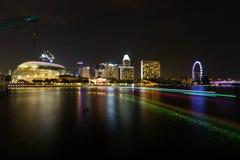 Όψη νύχτας σε Σινγκαπούρη Στοκ Εικόνες