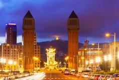 Όψη νύχτας της Βαρκελώνης Στοκ Φωτογραφία