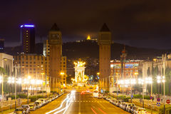 Όψη νύχτας της Βαρκελώνης Στοκ φωτογραφία με δικαίωμα ελεύθερης χρήσης