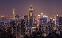 όψη νύχτας του Χογκ Κογκ Στοκ Εικόνα