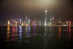 όψη νύχτας του Χογκ Κογκ Στοκ Φωτογραφία