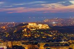 Όψη πέρα από την Αθήνα στην αυγή Στοκ εικόνα με δικαίωμα ελεύθερης χρήσης