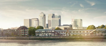 Όψη πανοράματος της περιοχής Canary Wharf Στοκ φωτογραφίες με δικαίωμα ελεύθερης χρήσης