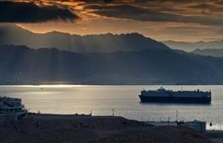 όψη πρωινού κόλπων aqaba Στοκ Εικόνα