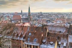 Όψη πόλεων Nurember κατά τη διάρκεια του χειμώνα Στοκ Εικόνες
