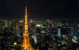 όψη πύργων του Τόκιο νύχτας Στοκ εικόνα με δικαίωμα ελεύθερης χρήσης