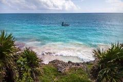 Όψη σχετικά με τον ωκεανό Tulum, Μεξικό στοκ εικόνα