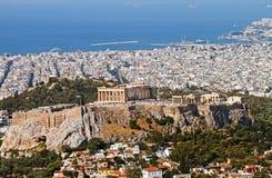 Όψη της Αθήνας από το υποστήριγμα Lycabettus Στοκ Εικόνες