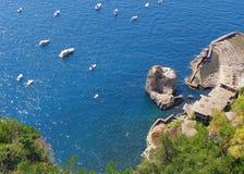 Όψη της ακτής της Αμάλφης, Ιταλία Στοκ Εικόνες