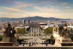 όψη της Βαρκελώνης Ισπανία Plaza de Espana στο βράδυ με το ηλιοβασίλεμα Στοκ φωτογραφίες με δικαίωμα ελεύθερης χρήσης