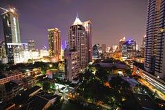όψη της Ταϊλάνδης νύχτας πόλεων της Μπανγκόκ Στοκ Φωτογραφίες
