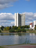 όψη του Μινσκ ξενοδοχείων οικοδόμησης Στοκ Φωτογραφίες