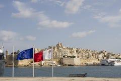 όψη valletta Λα Μάλτα σημαιών Στοκ φωτογραφία με δικαίωμα ελεύθερης χρήσης